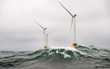 Wind Turbines off Block Island Shore in Massachusetts