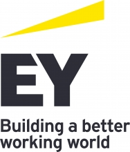 """Wordmark that reads """"Ernst and Young: Buidling a better working world"""""""