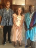Nate Whitaker, Erin Baker, and the chief of Nyankpala meet in Tamale, Ghana, to discuss the electricity system from the perspective of consumers in rural villages.